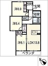 仮)JA賃貸豊田市三軒町 2階3SLDKの間取り