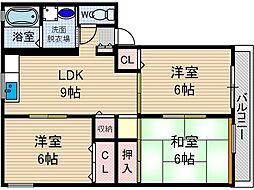 クレアトゥール新堂A[2階]の間取り