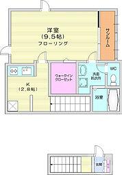 仙台市営南北線 八乙女駅 徒歩9分の賃貸アパート 2階1Kの間取り