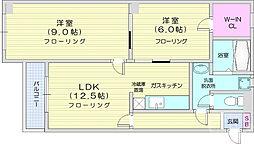 仙台市営南北線 北四番丁駅 徒歩10分の賃貸マンション 3階2LDKの間取り