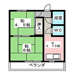 扇ハイツ[4階]の間取り