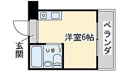 Osaka Metro御堂筋線 西中島南方駅 徒歩17分の賃貸マンション 2階ワンルームの間取り