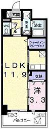JR宇野線 備前西市駅 3.3kmの賃貸マンション 6階1LDKの間取り