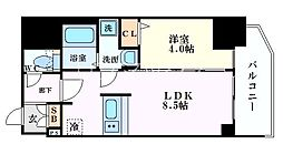 Osaka Metro堺筋線 北浜駅 徒歩5分の賃貸マンション 11階1LDKの間取り