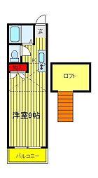 メゾン・デ・シャルム逆井[205号室]の間取り