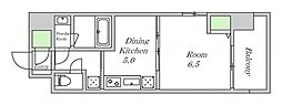 近鉄南大阪線 河堀口駅 徒歩7分の賃貸マンション 9階1DKの間取り