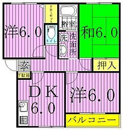 中野ハイツB[202号室]の間取り