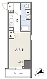 プライムコート本八幡 8階1Kの間取り