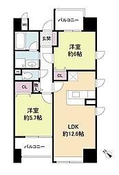福岡県福岡市中央区渡辺通3丁目の賃貸マンションの間取り