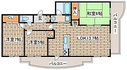 兵庫県芦屋市月若町の賃貸マンションの間取り
