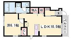 神鉄粟生線 小野駅 徒歩14分の賃貸アパート 1階1LDKの間取り