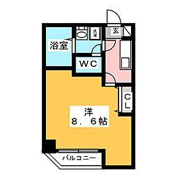 金太郎ヒルズ243松が谷 4階1Kの間取り