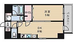 エステムコート北堀江[201号室]の間取り