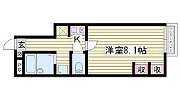 JR播但線 香呂駅 徒歩7分の賃貸アパート 2階1Kの間取り