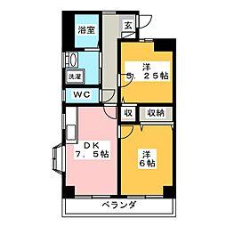 レジデンスミサワII[3階]の間取り