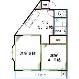 JR中央本線 西国分寺駅 徒歩8分の賃貸アパート 1階2Kの間取り