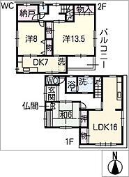 [一戸建] 愛知県一宮市真清田2丁目 の賃貸【/】の間取り