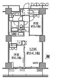 パークアクシス豊洲 5階2LDKの間取り