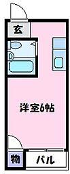 ラフィーネ3号館 3階ワンルームの間取り