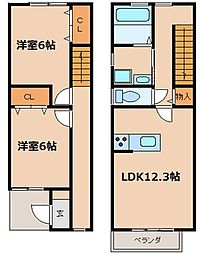 [テラスハウス] 愛知県名古屋市中村区松原町3丁目 の賃貸【/】の間取り