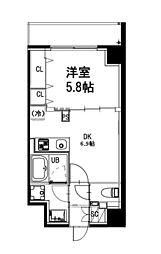 都営新宿線 曙橋駅 徒歩4分の賃貸マンション 5階1DKの間取り