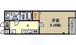 リザルト三国 6階1Kの間取り