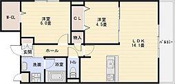 メルヴェーユ藤井寺[3階]の間取り