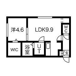 札幌市営東西線 西28丁目駅 徒歩9分の賃貸マンション 1階1LDKの間取り