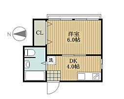 東京都新宿区四谷1丁目の賃貸アパートの間取り