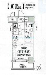 クラリッサ横浜フロード 3階ワンルームの間取り