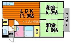 岡山県倉敷市山地丁目なしの賃貸アパートの間取り