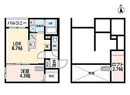 JR鹿児島本線 熊本駅 徒歩7分の賃貸アパート 1階1SLDKの間取り