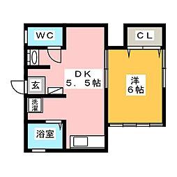 コリーヌ如月B棟[2階]の間取り