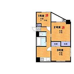 東武伊勢崎線 北千住駅 徒歩18分の賃貸マンション 8階ワンルームの間取り