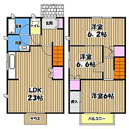 [テラスハウス] 東京都あきる野市秋川3丁目 の賃貸【/】の間取り