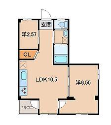 吉村マンション 2階2LDKの間取り