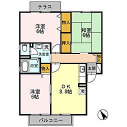 兵庫県姫路市飾磨区上野田4丁目の賃貸アパートの間取り