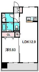 Osaka Metro谷町線 大日駅 徒歩5分の賃貸マンション 2階1LDKの間取り