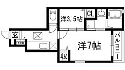 兵庫県宝塚市鶴の荘の賃貸アパートの間取り