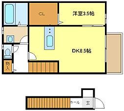 JR姫新線 余部駅 徒歩13分の賃貸アパート 2階1DKの間取り