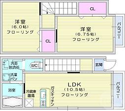 JR東北本線 長町駅 徒歩13分の賃貸アパート 1階2LDKの間取り