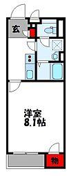 クレイノ東田 1階1Kの間取り