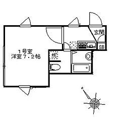 ミキハウス幕張 4階1Kの間取り