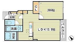 兵庫県たつの市揖西町土師4丁目の賃貸アパートの間取り