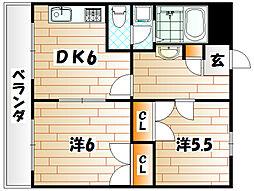 福岡県北九州市小倉南区高野4丁目の賃貸アパートの間取り