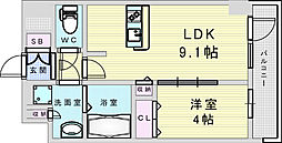Osaka Metro御堂筋線 新大阪駅 徒歩8分の賃貸マンション 7階1LDKの間取り