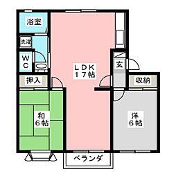 クレセント松新[2階]の間取り