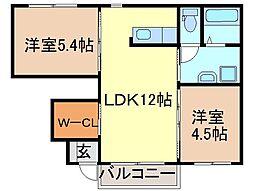 静岡県静岡市清水区蒲原新栄の賃貸アパートの間取り