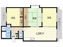 JR日豊本線 隼人駅 徒歩37分の賃貸マンション 1階3LDKの間取り