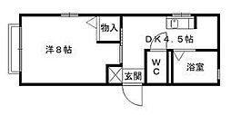 シャトーK安部山[B101号室]の間取り
